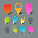 Vector Map Markers. With shadow effects Stock Image