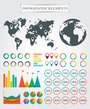 Vector map, markers, arrows, pie for infographic. Stock Photography