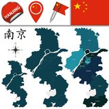 Map of Nanjing with divisions. Vector map of Nanjing with named divisions and travel icons. There are chinese characters in a set - it means Nanjing Stock Photography