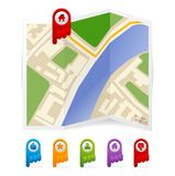 Vector map with navigation icons Stock Photo