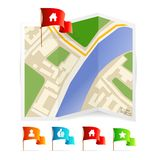 Vector map with navigation icons. This is file of EPS10 format Stock Image