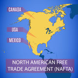 Vector map of the North American Free Trade Agreement NAFTA. Royalty Free Stock Photo