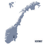 Vector map of Norway isolated on white background. Royalty Free Stock Photos