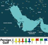 Map of Persian Gulf Royalty Free Stock Images