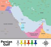 Map of Persian Gulf Stock Photos