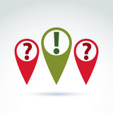 Vector map pointer with a question and exclamation marks. FAQ, c Stock Images