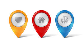 Vector map pointers Royalty Free Stock Photo