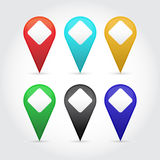 Vector map pointers set. Vector map pointers set for games presentations, ui tablets, smart phones Royalty Free Stock Photos