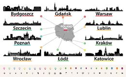 Vector map of Poland with largest city skylines silhouettes. Vector map of Poland with largest city skylines Royalty Free Stock Images
