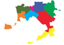 Vector Map of the Province of Naples, divided by areas. Italy Royalty Free Stock Photo