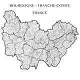 Vector map of the region Bourgogne - Franche-Comte, France Royalty Free Stock Images