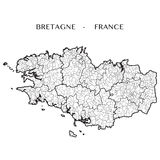 Vector map of the region of Brittany, France Royalty Free Stock Photography