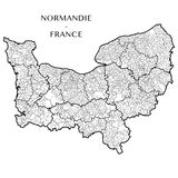 Vector map of the region Normandy Normandie, France Stock Photos