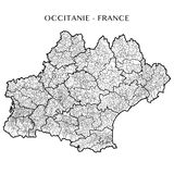 Vector map of the region Occitanie, France. Detailed map of the region Occitanie, France with borders of municipalities communes, subdistricts cantons, districts vector illustration