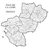 Vector map of the region Pays-de-la-Loire, France. Detailed map of the region Pays-de-la-Loire, France with borders of municipalities communes, subdistricts stock illustration