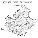 Vector map of the region Provence-Alpes-Cotes-d`Azur, France. Detailed map of the region Provence-Alpes-Cote-d`Azur, France with borders of municipalities Royalty Free Stock Photo