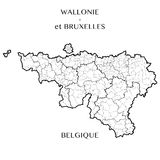 Vector map of the Regions of Wallonia and Brussels capital, Belgium Stock Images