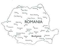 Vector map of Romania Stock Photography