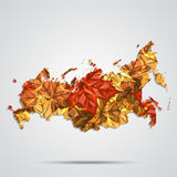 Vector map of the Russia with a background of autumn maple leaves. Vector Illustration. Stock Photos