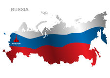 Vector map of Russian Federation. Russia flag. Royalty Free Stock Image