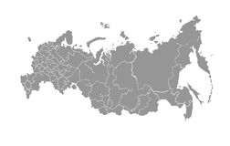 Vector map of Russian Federation on white background. Royalty Free Stock Image