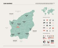 Vector map of San Marino. Country map with division, cities and capital. Political map,  world map, infographic elements royalty free illustration