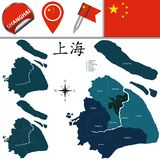 Map of Shanghai with Districts Stock Photos