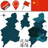 Map of Shenyang with divisions. Vector map of Shenyang with named divisions and travel icons. There are chinese characters in a set - it means Shenyang Royalty Free Stock Photo