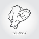 Vector map silhouette of Ecuador country. Line simplicity icon with signature Royalty Free Stock Photography