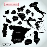 Vector map of Southern Europe with capitals names. On a light gray background Royalty Free Stock Photo