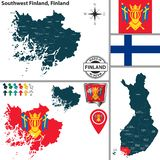Map of Southwest Finland, Finland. Vector map of Southwest Finland region and location on Finnish map stock illustration