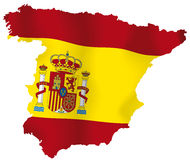 Vector map of Spain. Vector illustration of a map and flag from Spain