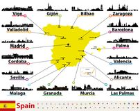 Vector map of Spain with largest cities skylines silhouettes. Vector map of Spain with largest cities skylines Stock Image