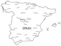Vector map of Spain Royalty Free Stock Photos