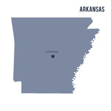 Vector map State of Arkansas isolated on white background. Royalty Free Stock Image