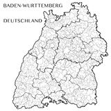 Vector map of the state of Baden-Wurttemberg, Germany Stock Images