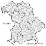 Vector map of the state of Bavaria Bayern, Germany Royalty Free Stock Photography