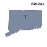 Vector map State of Connecticut isolated on white background. Stock Images