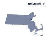 Vector map State of Massachusetts isolated on white background. Royalty Free Stock Photo
