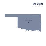Vector map State of Oklahoma isolated on white background. Royalty Free Stock Images