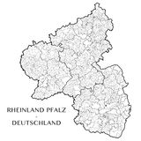 Vector map of the state of Rhineland Palatinate, Germany. Detailed map of the state of Rhineland Palatinate Rheinland Pfalz, Germany with 6 layers corresponding vector illustration