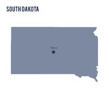 Vector map State of South Dakota isolated on white background. Stock Photos