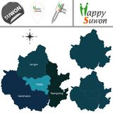 Map of Suwon, South Korea with Districts. Vector map of Suwon, South Korea with named districts and travel icons royalty free illustration