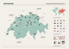 Vector map of Switzerland. stock illustration