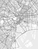 Vector city map of Tokyo in black and white. Vector map of Tokyo in black and white, city map simple style royalty free illustration