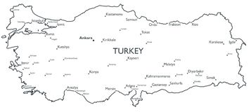 Vector map of Turkey Stock Photos