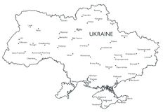 Vector map of Ukraine Stock Photo