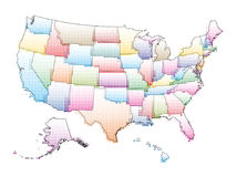Vector map of the United States of America with Halftone Pattern Stock Photos