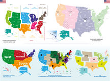 Vector map of United States. Vector maps of United States including regions and time zones maps Stock Image