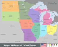 Upper Midwest of United States. Vector map of Upper Midwest of United States with neighboring states Royalty Free Stock Image